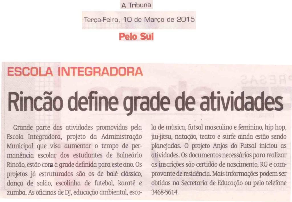 Anjos do Futsal no Jornal A Tribuna - 10/03/2015