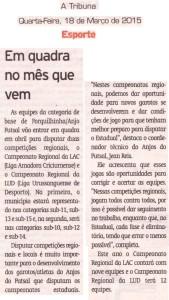 Anjos do Futsal no Jornal A Tribuna - 11/03/2015