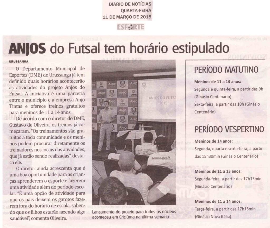 Anjos do Futsal no Jornal Diário de Notícias - 11/03/2015