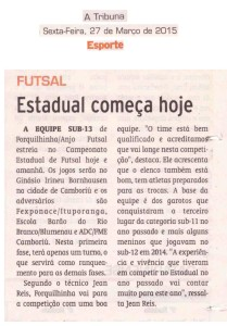 Anjos do Futsal no Jornal A Tribuna - 27/03/2015