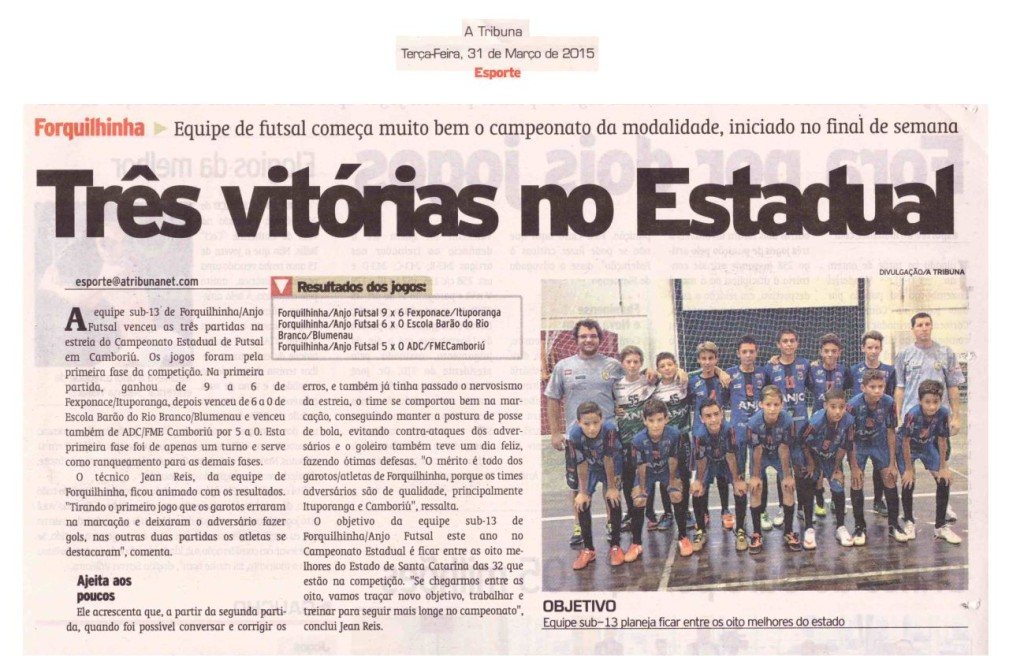 Anjos do Futsal no Jornal A Tribuna no dia 31/03/2015