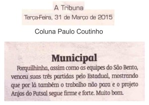 Anjos do Futsal na coluna de Paulo Coutinho no Jornal A Tribuna - 31/03/2015