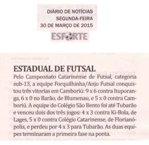 Anjos do Futsal na coluna Jean Reis do Jornal Diário de Notícias - 30/03/2015