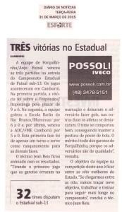 Anjos do Futsal no Jornal Diário de Notícias - 31/03/2015