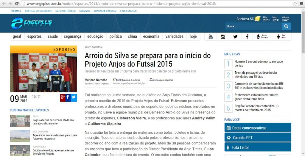 Anjos do Futsal no Portal Engeplus - 09/03/2015