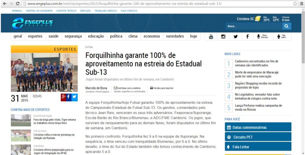 Anjos do Futsal no Portal Engeplus - 31/03/2015