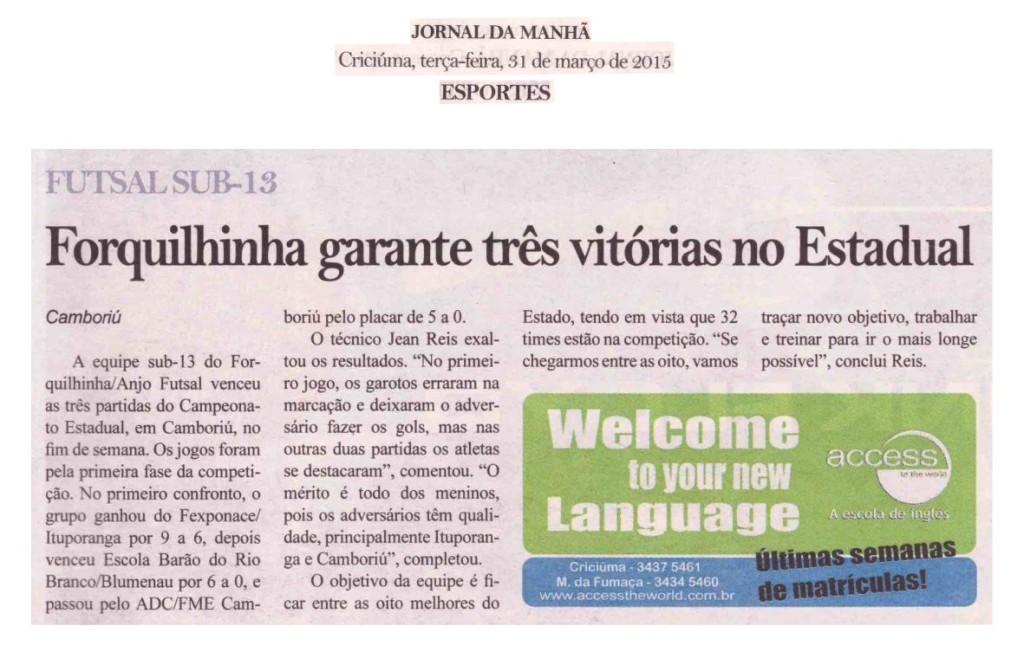 Anjos do Futsal no Jornal da Manhã - 31/03/2015