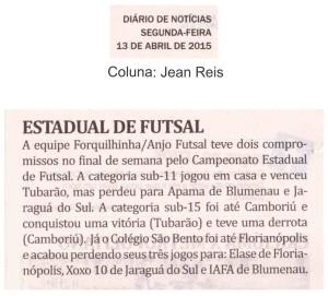 Anjos do Futsal na coluna Jean Reis do Jornal Diário de Notícias - 13/04/2015