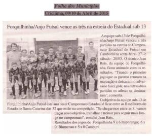 Anjos do Futsal no Jornal Folha dos Municípios - 09 e 10/04/2015