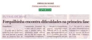 Anjos do Futsal no Jornal da Manhã - 15/04/2015