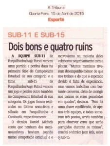 Anjos do Futsal no Jornal A Tribuna - 15/04/2015