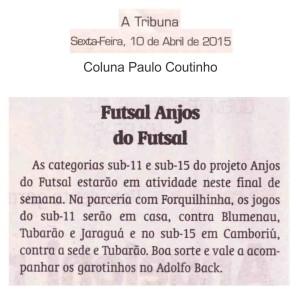 Anjos do Futsal na coluna de Paulo Coutinho no Jornal A Tribuna - 10/04/2015