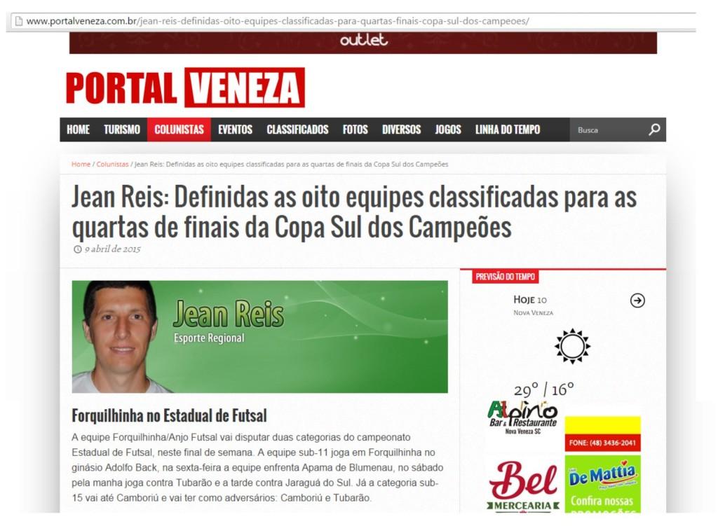 Anjos do Futsal na coluna do Jean Reis no Portal Veneza - 09/04/2015