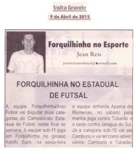 Anjos do Futsal no Jornal Volta Grande - 09/04/2015