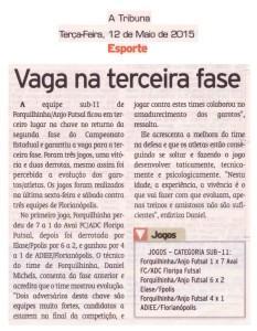 Anjos do Futsal no Jornal A Tribuna - 12/05/2015