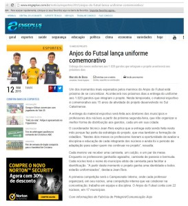 Anjos do Futsal no Portal Engeplus - 12/05/2015