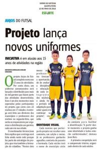 Anjos do Futsal no Jornal Diário de Notícias - 13/05/2015