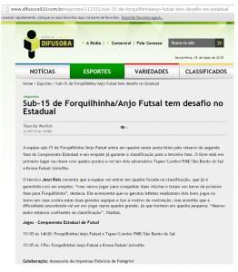Anjos do Futsal no portal da Rádio Difusora - 14/05/2015