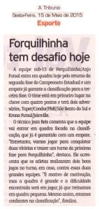 Anjos do Futsal no Jornal A Tribuna - 15/05/2015