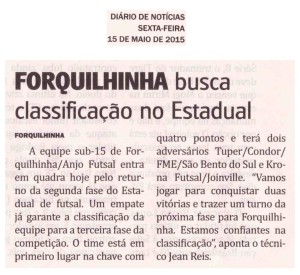 Anjos do Futsal no Jornal Diário de Notícias - 15/05/2015