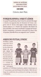 Anjos do Futsal no Jornal Diário de Notícias - 18/05/2015