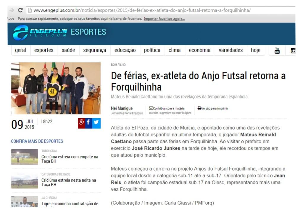 Anjos do Futsal no Portal Engeplus - 09/07/2015