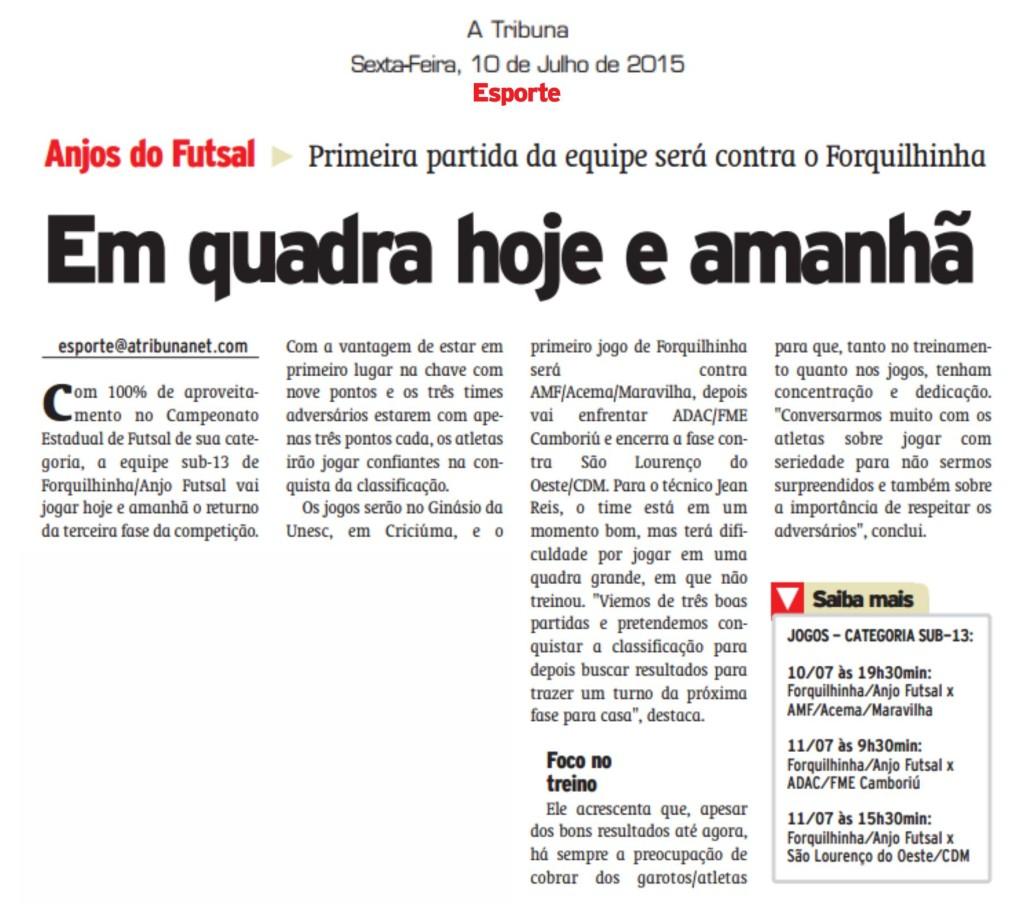 Anjos do Futsal no Jornal A Tribuna - 10/07/2015