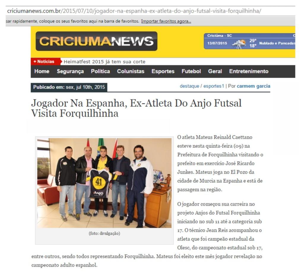 Anjos do Futsal no Portal Criciúma News - 10/07/2015