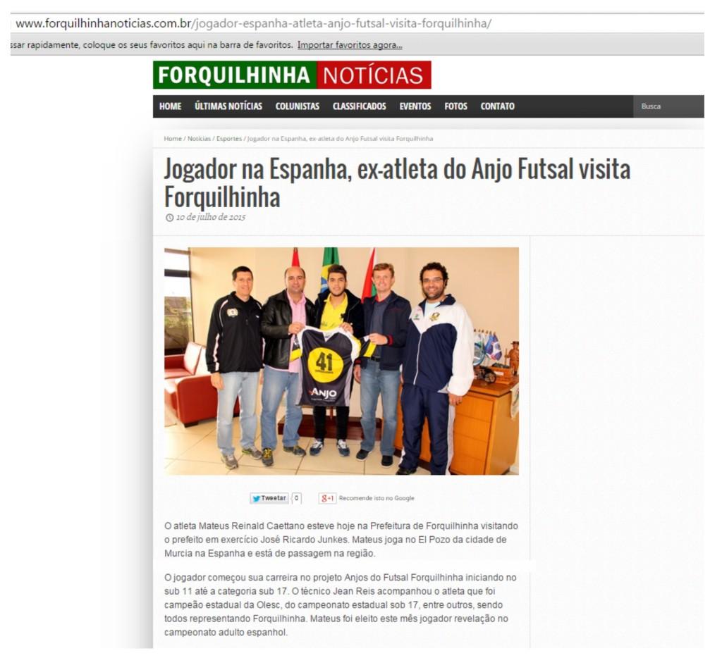 Anjos do Futsal no Portal Forquilhinha Notícias - 10/07/2015