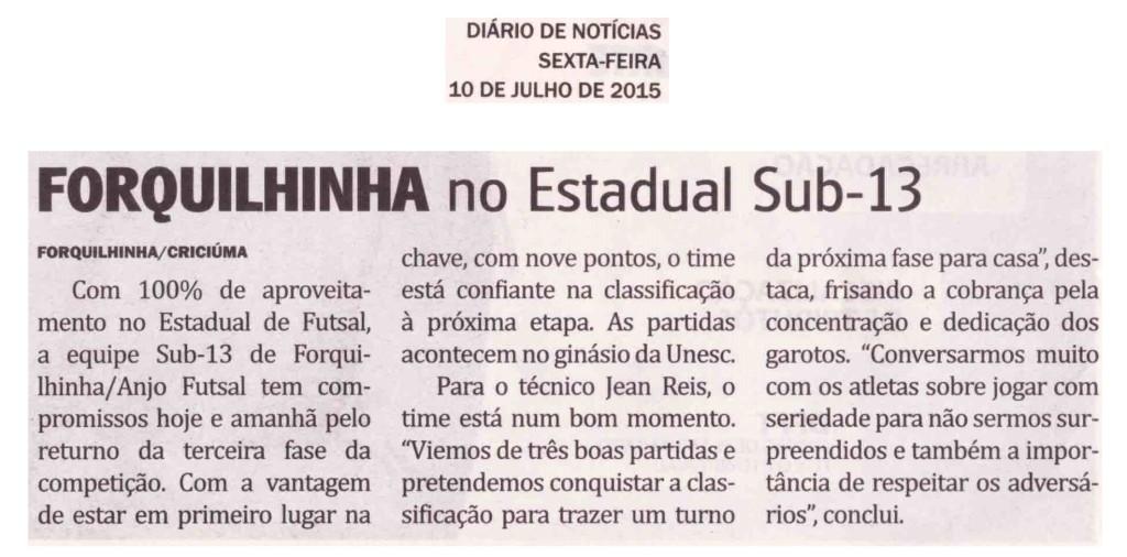 Anjos do Futsal no Jornal Diário de Notícias - 10/07/2015