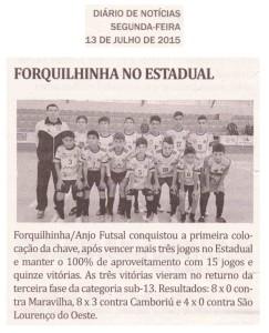 Anjos do Futsal no Jornal Diário de Notícias - 13/07/2015