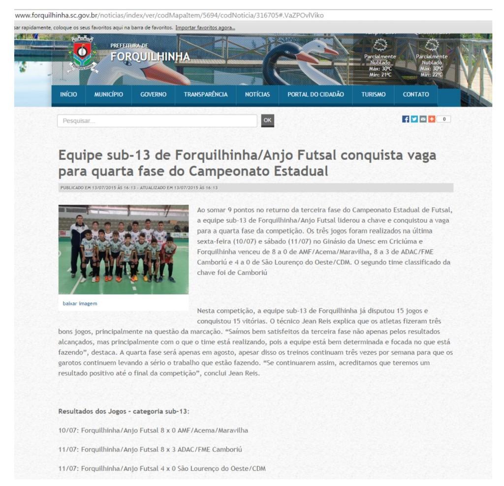 Anjos do Futsal no site da Prefeitura de Forquilhinha - 13/07/2015