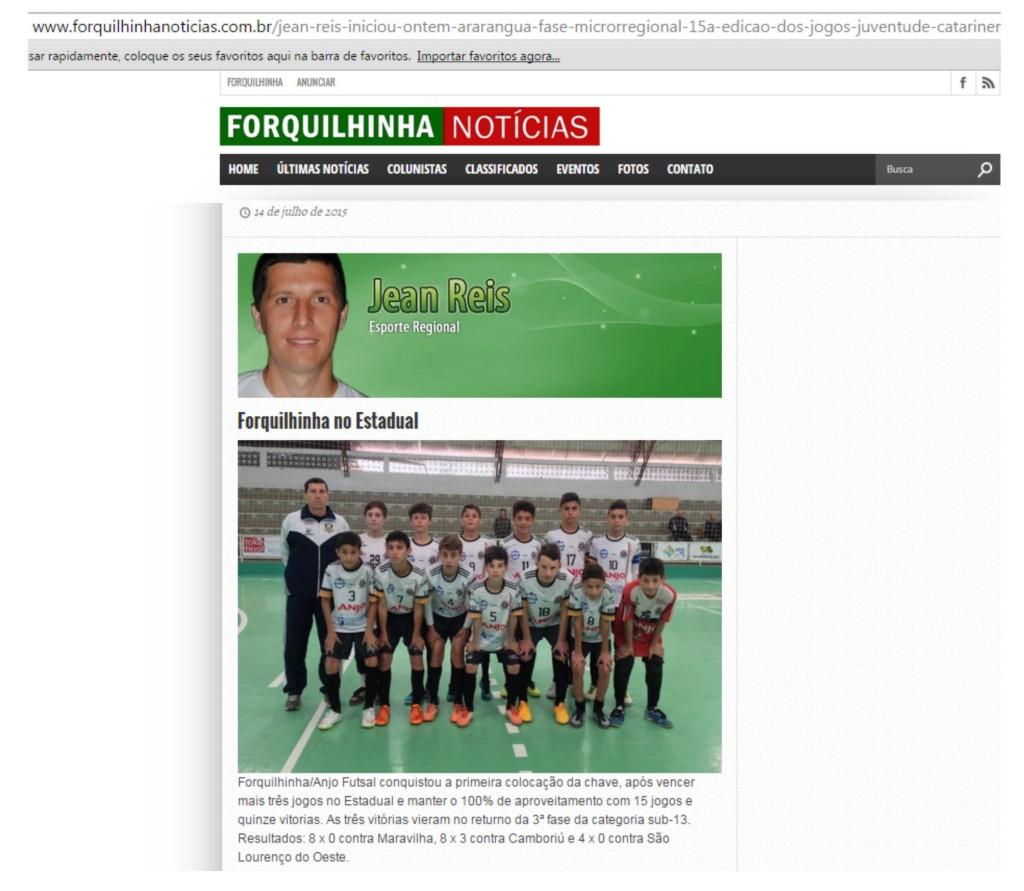 Anjos do Futsal no Portal Forquilhinha Notícias - 14/07/2015