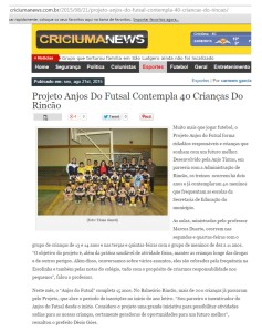 Anjos do Futsal no Portal Criciúma News - 21/08/2015