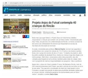 Anjos do Futsal no Portal Engeplus - 21/08/2015