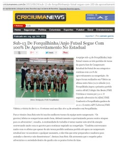 Anjos do Futsal no Portal Criciúma News - 24/08/2015