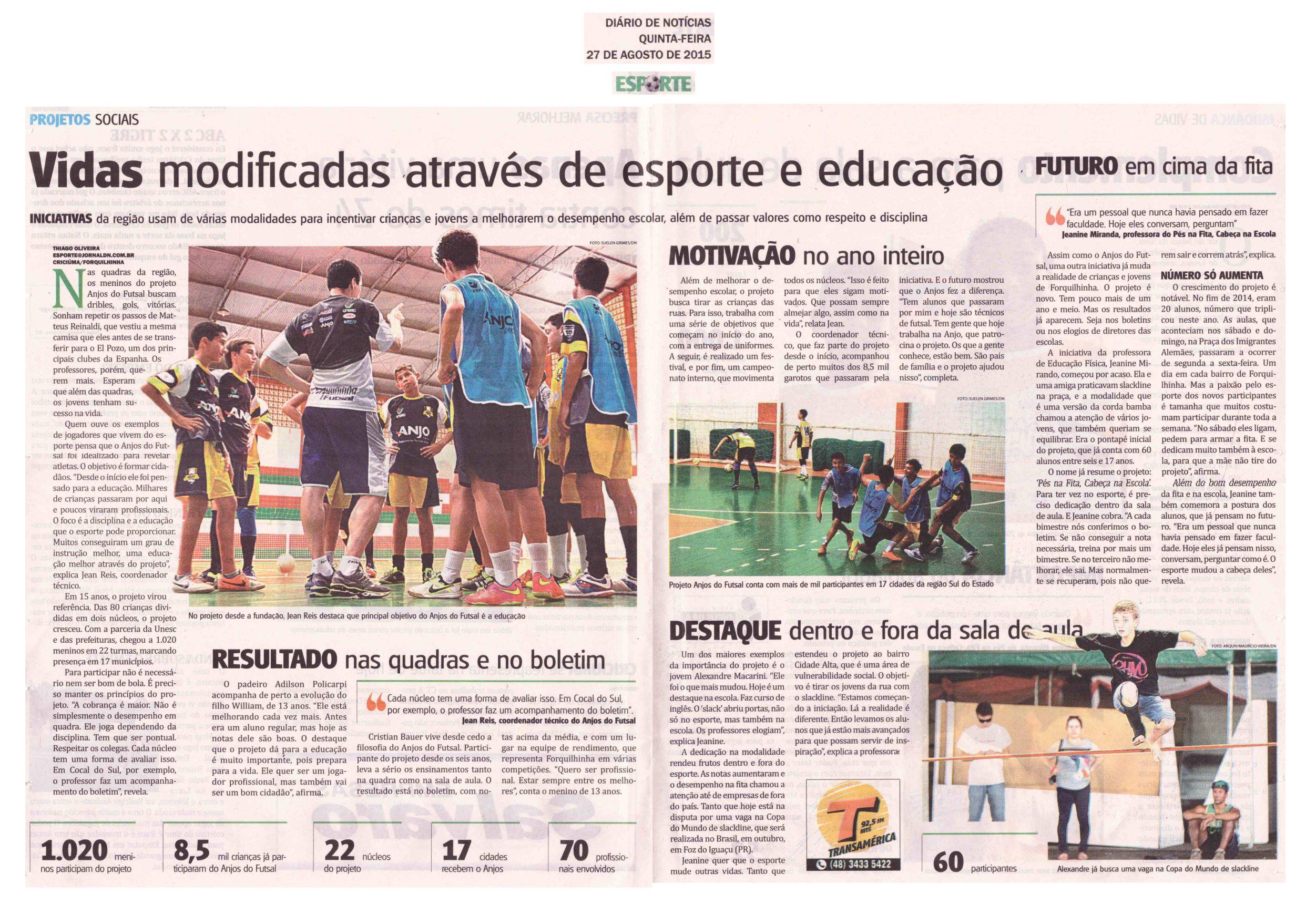 Anjos do Futsal na Imprensa - 25 08 2015 a 31 08 2015 - Anjos do ... 1814948d6cb2f