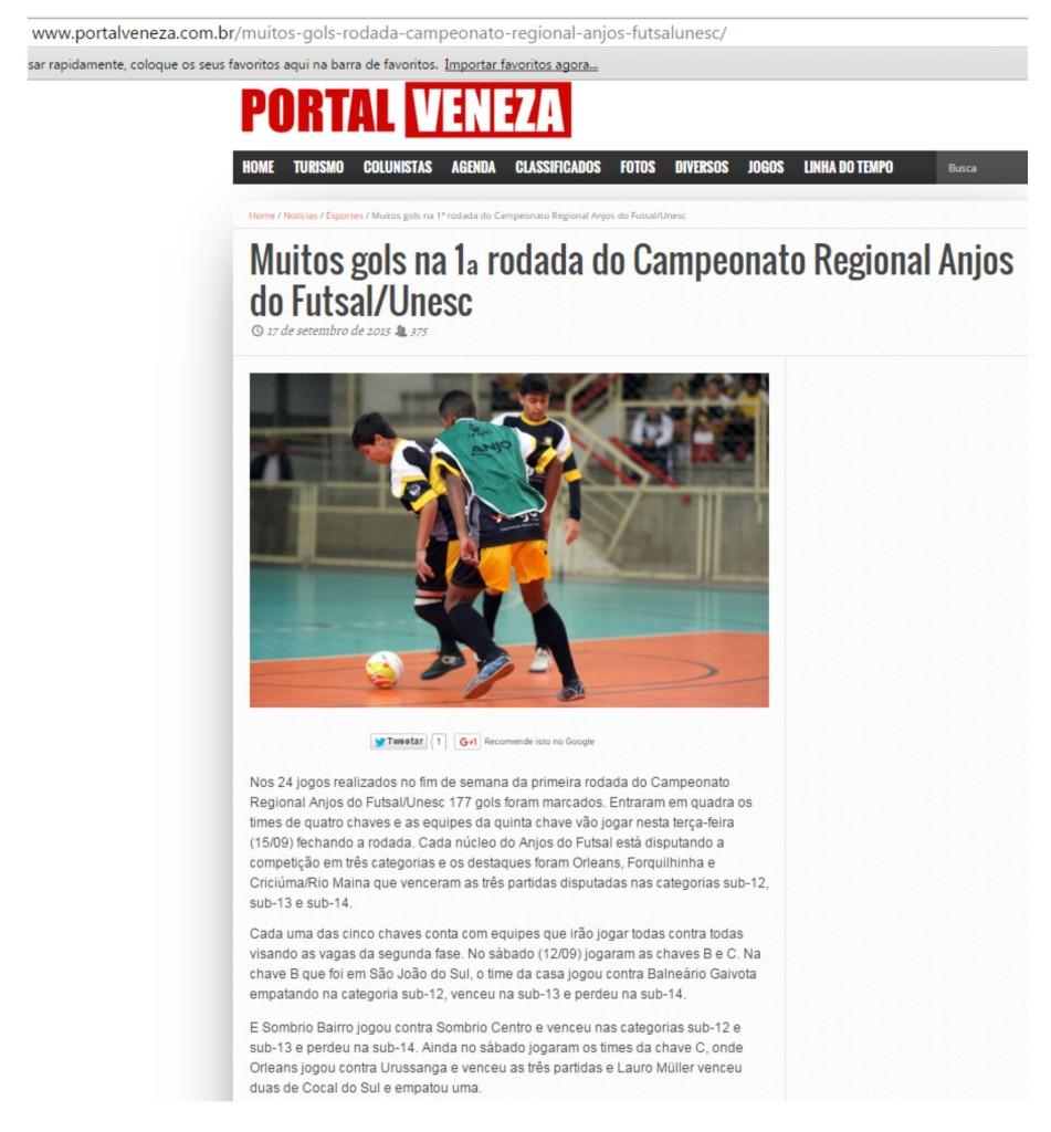Anjos do Futsal no Portal Veneza - 17/09/2015