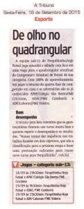Anjos do Futsal no Jornal A Tribuna - 18/09/2015
