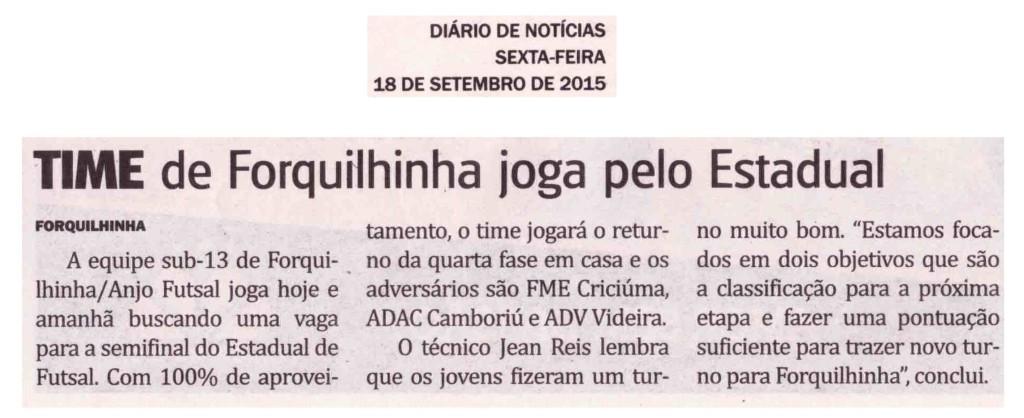 Anjos do Futsal no Jornal Diário de Notícias - 18/09/2015