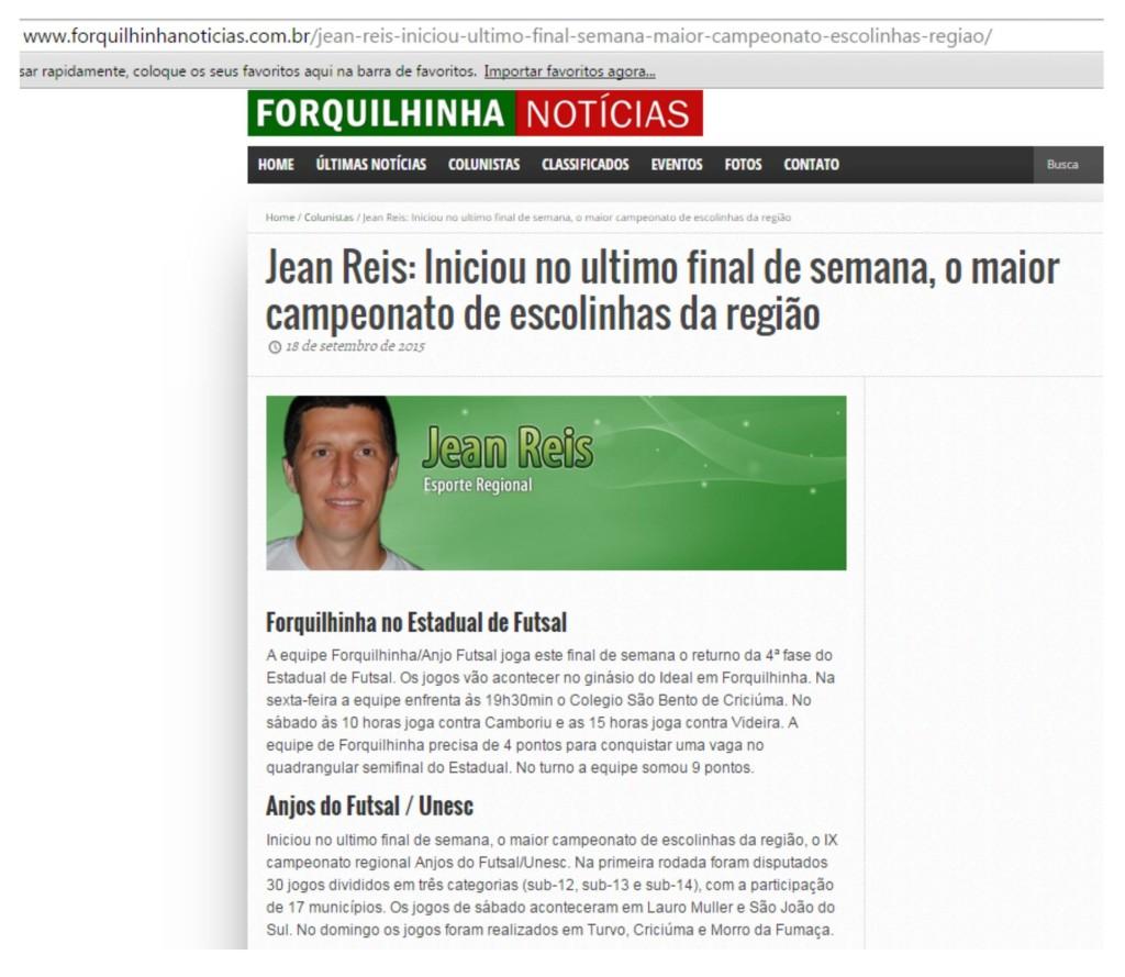 Anjos do Futsal no Portal Forquilhinha Notícias - 18/09/2015