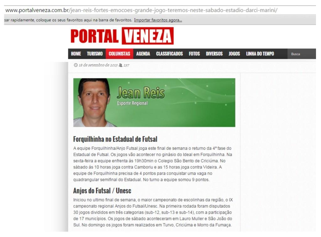 Anjos do Futsal no Portal Veneza - 18/09/2015