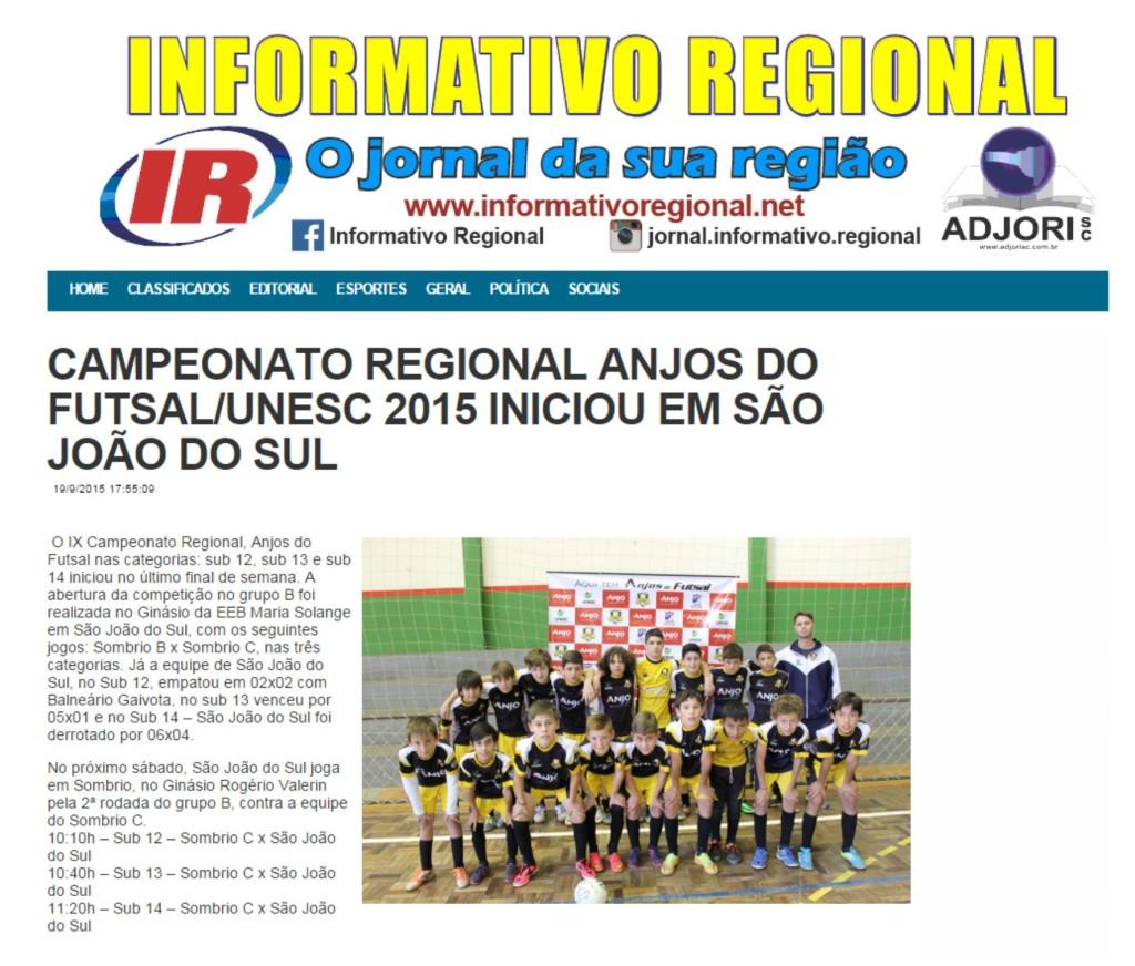 Anjos do Futsal no Portal Informativo Regional - 19/09/2015