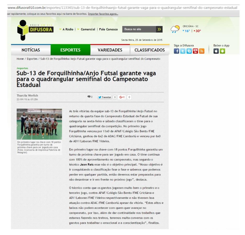 Anjos do Futsal no Portal da Rádio Difusora - 22/09/2015