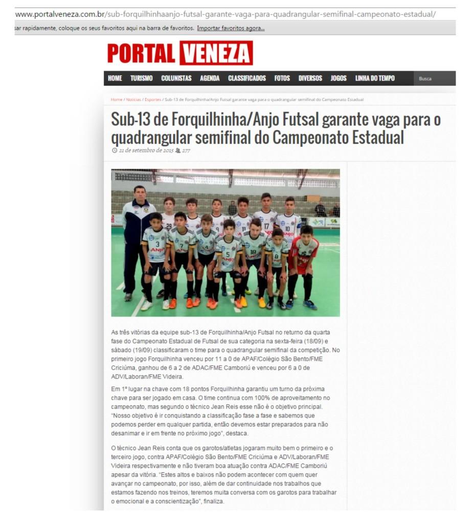 Anjos do Futsal no Portal Veneza - 21/09/2015