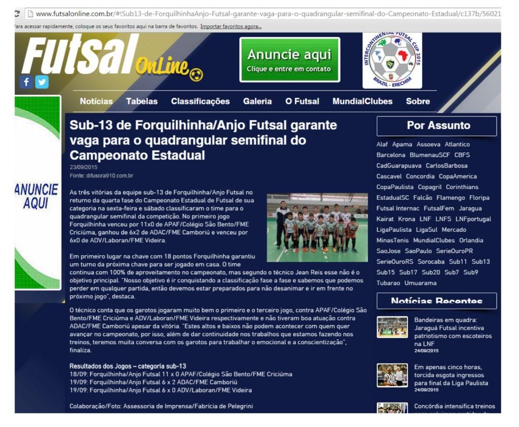 Anjos do Futsal no Portal Futsal Online - 23/09/2015