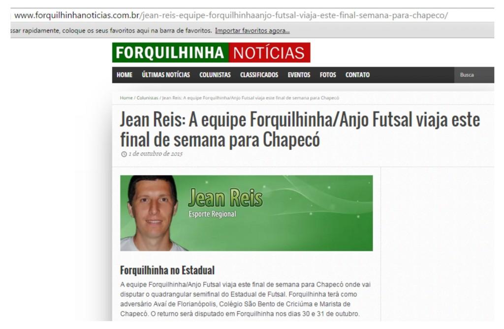 Anjos do Futsal no Portal Forquilhinha Notícias - 01/10/2015