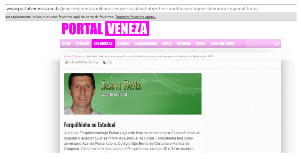 Anjos do Futsal no Portal Veneza - 01/10/2015