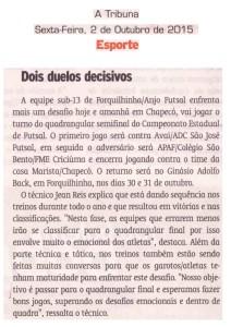 Anjos do Futsal no Jornal A Tribuna - 02/10/2015