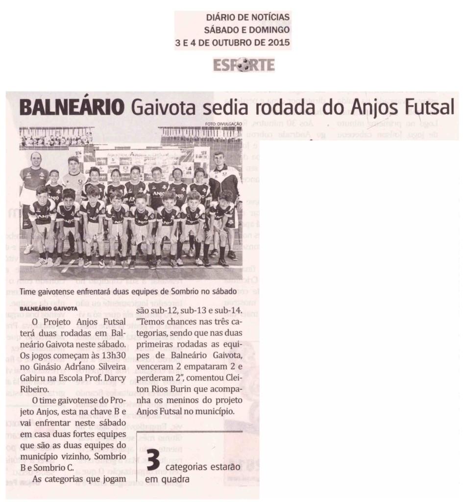 Anjos do Futsal no Jornal Diário de Notícias - 03 e 04/10/2015